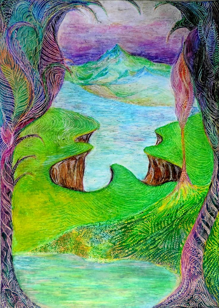 Fantasy landscape Oil pastel