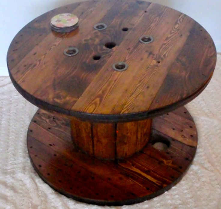 133 best images about industrial wooden spools on for Wire reel table