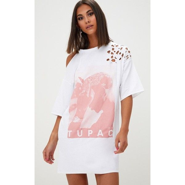 White Tupac Distressed T Shirt Dress (£25) ❤ liked on Polyvore featuring dresses, white, oversized tee dress, white tee shirt dress, pattern dress, white tee dress and white dress