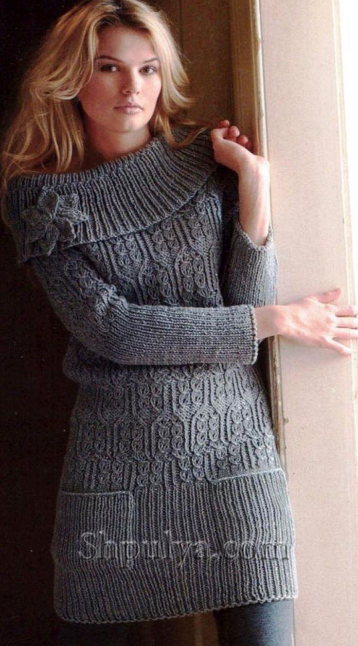Мини-платье с широким воротником, вязаное спицами