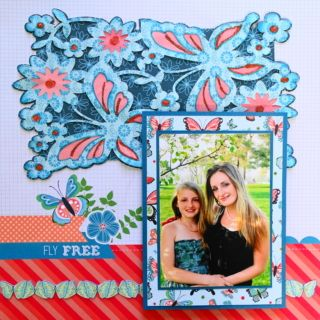 This is a girl scrapbook page idea with a butterfly and flower theme. The images are from Cricut Ann's Lace Cards cartridge. To learn how to make this layout, go to my blog at Everyday Life Scrapbook 38 - Me and My Cricut