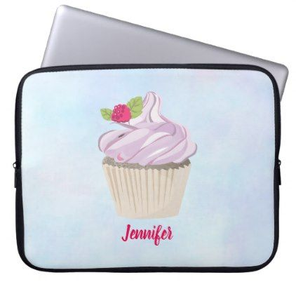 #Delicious Pink Cupcake Berry on Top Custom Computer Sleeve - cyo customize design idea do it yourself diy
