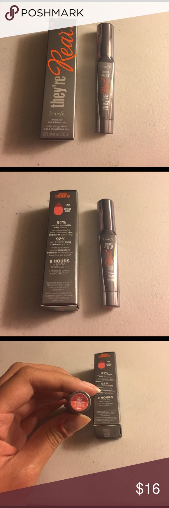 Sale  Benefit lusty rose lipstick liner in one Color lusty rose. Benefit lipstick and liner in one. Brand new. Never been used never been swatched. On sale for 5 days Sephora Makeup Lipstick