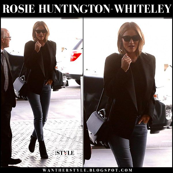 Rosie Huntington-Whiteley in black blazer, jeans and ankle boots at LAX