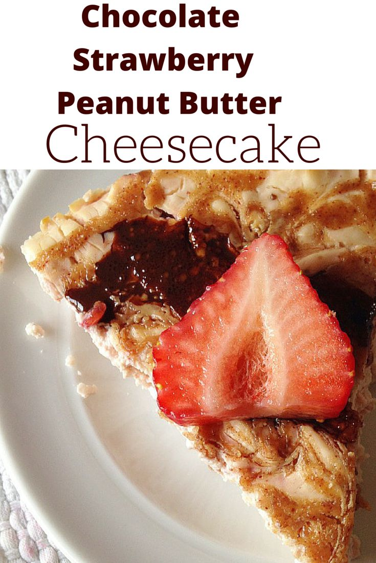 #healthy Chocolate Strawberry and Peanut butter Cheesecake will knock your socks off and is sure to be a crowd pleaser! #guiltfree #chocolate #strawberry #peanutbutter #cheesecake #cleaneating
