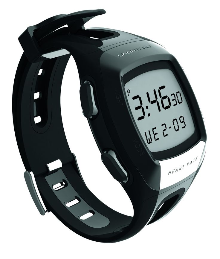 Sportline S7 Heart Rate Monitor Watch. Patented one-touch technology. ECG Accurate Heart rate Reading. No chest strap required. Measures calories burned, countdown timer, chronograph, calendar, Time (12-24 hour setting) , , alarm, large digital display, backlight, hourly chime. Water resistant to 30 meters.
