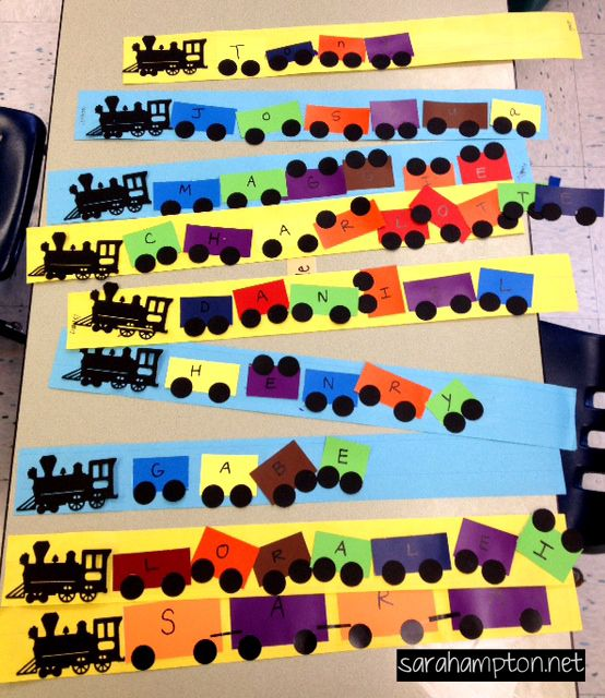 Name train craft for kidsAnother good use for free paint chips!!!!