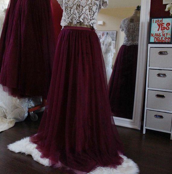 Long maxi tulle skirt / burgundy tulle skirt by MakeMyDresses
