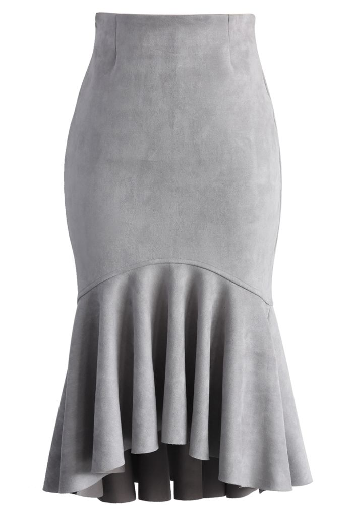 Sassy Suede Frill Hem Skirt in Grey - New Arrivals - Retro, Indie and Unique Fashion