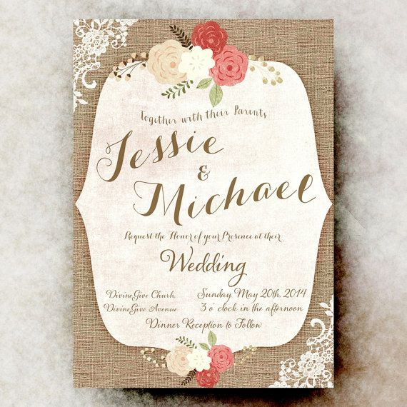 Burlap Lace Wedding Invitation - Shabby Chic Invitation, Rustic Wedding Invitation, Printable Invitation