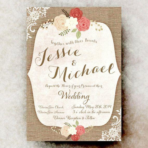 Cheap Shabby Chic Wedding Invitations: Burlap Lace Wedding Invitation