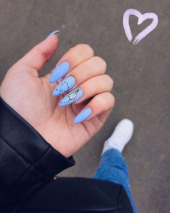 25 Awesome Nail Arts for Creative Person – Paper plane nail design #acrylicnaild…