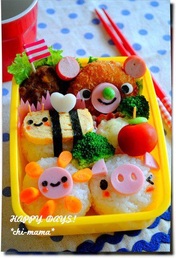 試作★ぶたちゃんとミツバチさんのお弁当(キャラ弁、デコ弁) の画像 HAPPY DAYS!
