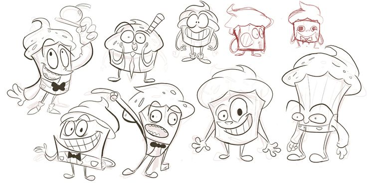 Early Mr. Cupcake character design sketches from Mighty