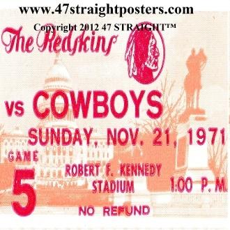 1971 Dallas vs. Washington Football Ticket Coasters.™ Great football gift idea! Dallas won their first Super Bowl in 1971. #football #giftideas #47straight