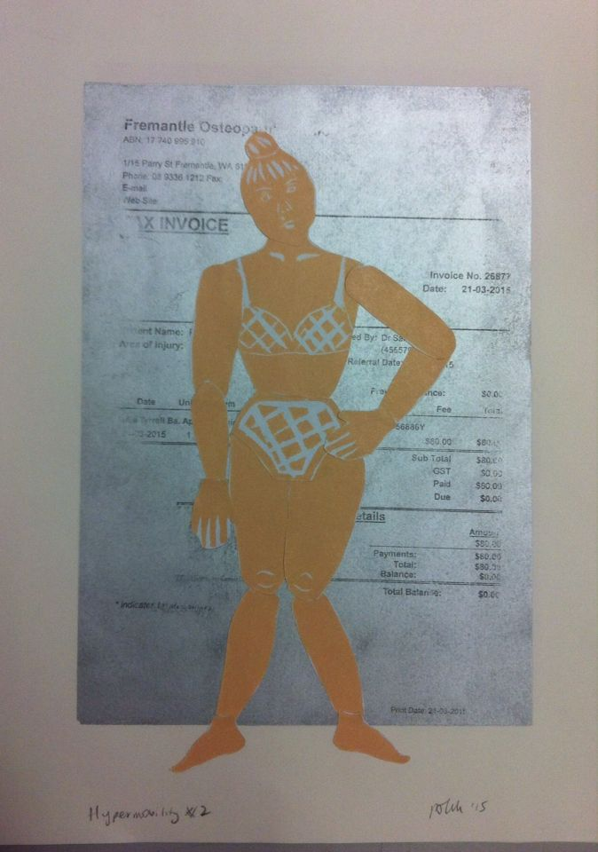 Body parts printed on sticker paper, arranged on monoprint with turps transfer of medical document