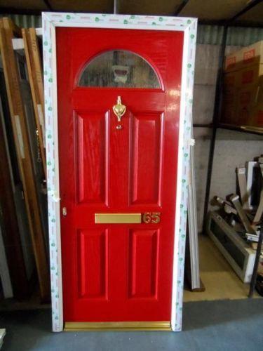 New-Red-GRP-Composite-Front-Door-UPVC-Frame-915mm-X-2090mm