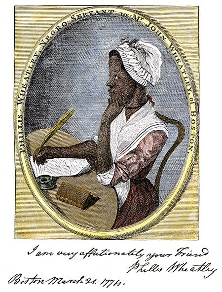 Freedom in thought: the poet Phyllis Wheatley with her autograph. Woodcut, 18th century.