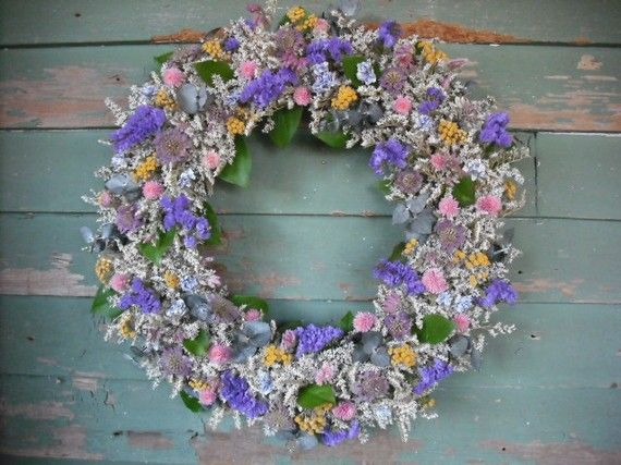 Victorian Garden Dried flower Wreath all by NHWoodscreations