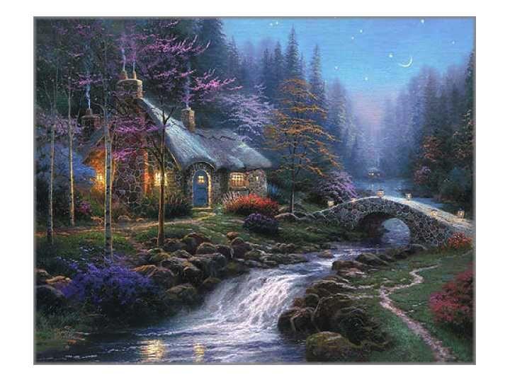 Cottages/Manors & Estates - Thomas Kinkade Twilight Cottage Classic 8x10 Non-Limited Edition Canvas - Thomas Kinkade Online