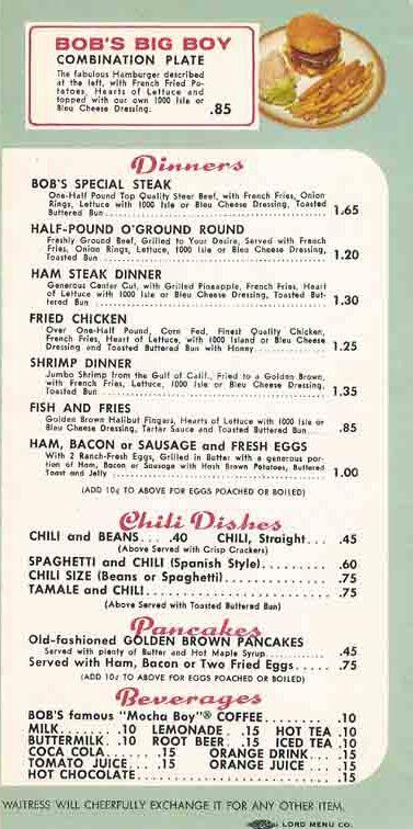 1963 Bob\u0027s Big Boy Menu (Page 2) Menus Pinterest Menu