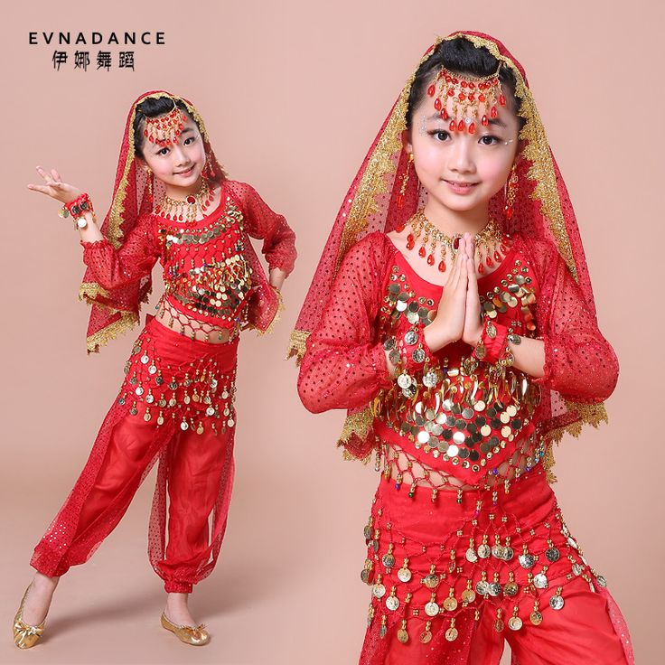 2016 New Indian Dance Suit Children Belly Dancing Suit 6-piece Set Costume Bollywood Dance Costumes for Girls B-2222(China (Mainland))