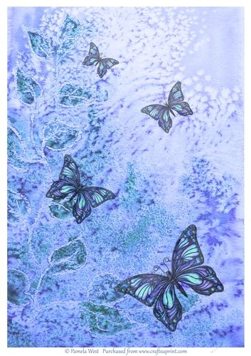 Blue Butterflies background paper. Made with one of my watercolour backgrounds with added butterflies