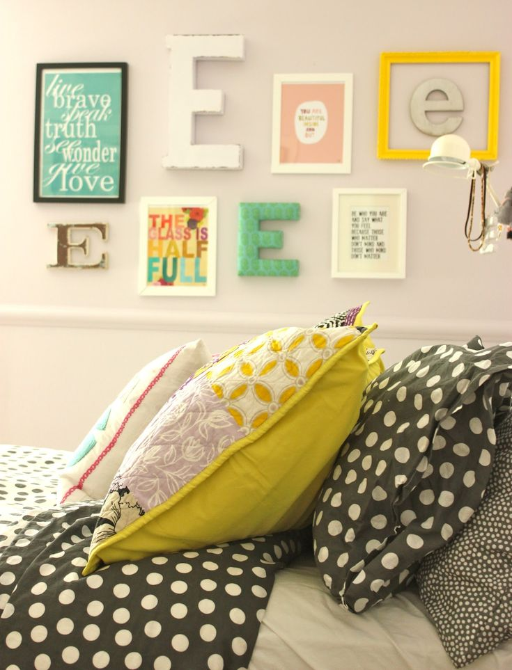 The grey {gray?} polka dot duvet and pillow cases are  from Ikea, the body pillow cover from PB Teen and the quilted grey/yellow/purple  shams are from Target!  The Dream BIG pillow is from PB Teen.