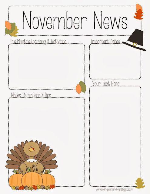 Fall Preschool Newsletter Template | november newsletter for preschool pre k kindergarten and all grades