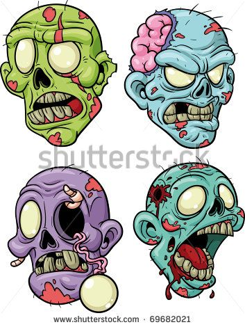 Cute Zombie Clip Art | Four Cartoon Zombie Heads. All In Separate Layers For Easy Editing ...