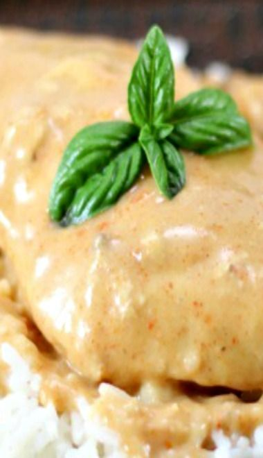 Fiesta Ranch Chicken 3-4 chicken breasts 1 can cream of mushroom soup 1/2 c. sour cream 1 packet Fiesta Ranch mix Cooked rice, for serving