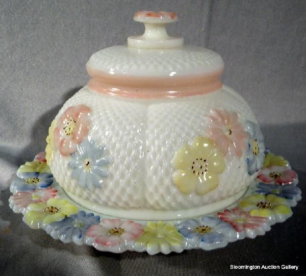 Victorian Cosmos Covered Glass Butter Dish