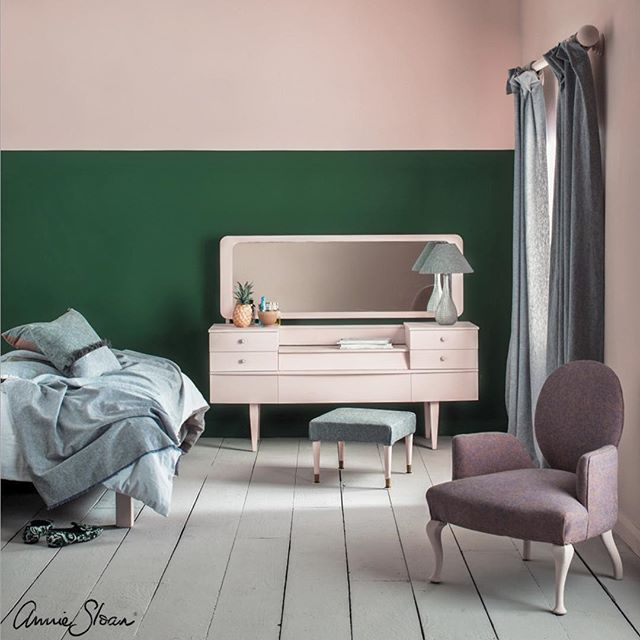 Not all pinks are baby pink! Antoinette is a natural almost earthy pink inspired by Marie Antoinette and Venetian walls. It's not too sweet so it can be used on walls as well as furniture. For a really 'grown up' and sophisticated look, why not pair pink with green? In this bedroom, I used Antoinette next to Amsterdam Green because they're complementary colours. One is strong and deep, the other is light and pretty.