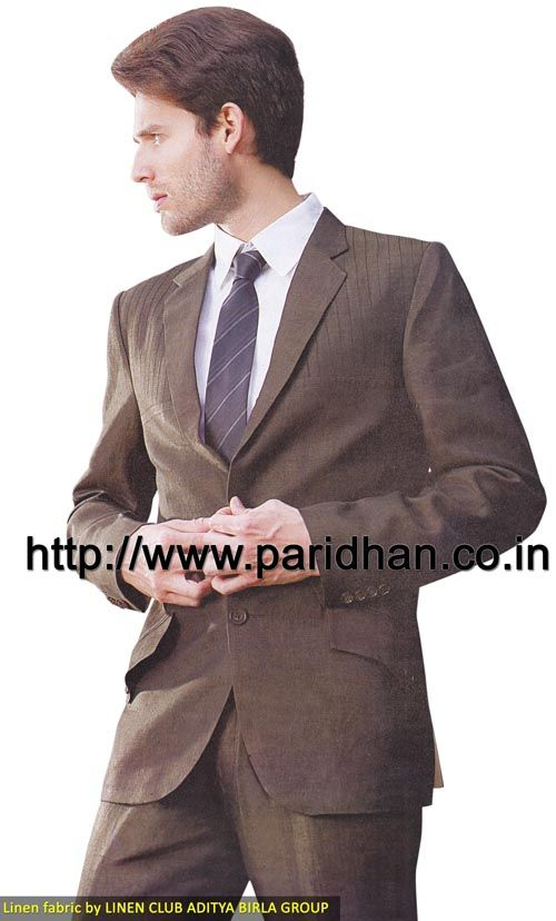 Designer two button linen suit made in brown color pure linen fabric. It has bottom as trouser made in same color fabric. Dryclean only.