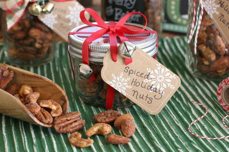 Spiced Holiday Nuts Gift-in-a-Jar Recipe ... These tasty nuts capture the aroma and flavor of the holiday season with just a hint of cayenne, giving them an extra kick of flavor. Honestly, it's almost impossible to stop eating them!