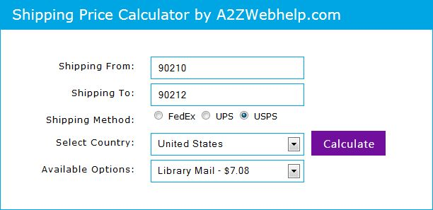 PHP jQuery Shipping price calculator. Calculate UPS, USPS and FedEx shipping price.