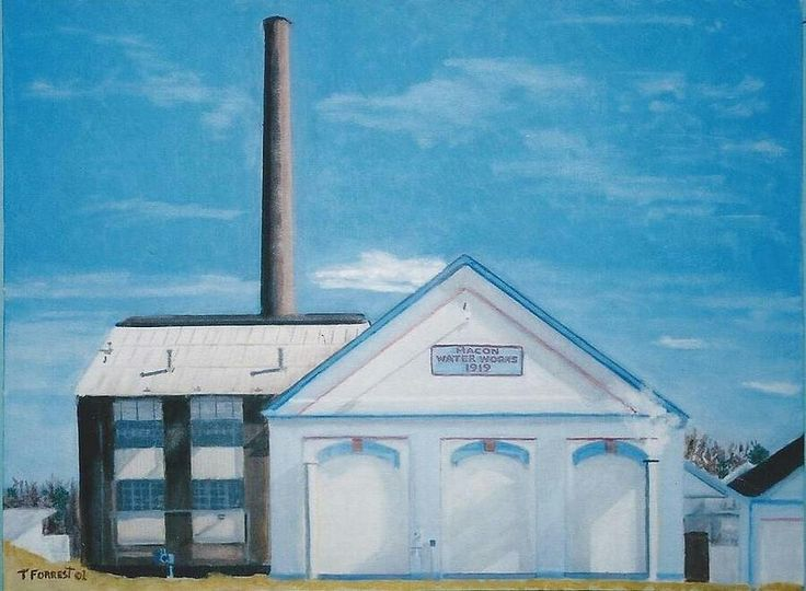 """Macon Water Works, now called the Macon Water Authority. The building was built in 1919.  The building housed the boilers that generated the steam to operate the water pumps for distribution throughout the City of Macon.   Oil on Canvas. 18"""" X 24"""""""