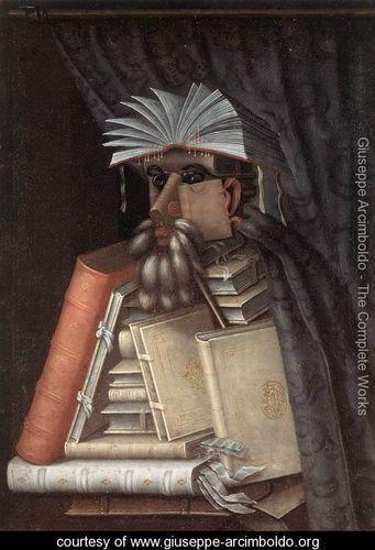 The Librarian 1566  //Giuseppe Arcimboldo: Guisepp Arcimboldo, Librarians 1566, Bookart, Books Art, Il Bibliotecario, Oil On Canvas, Giuseppe Arcimboldo, Portraits, Paintings