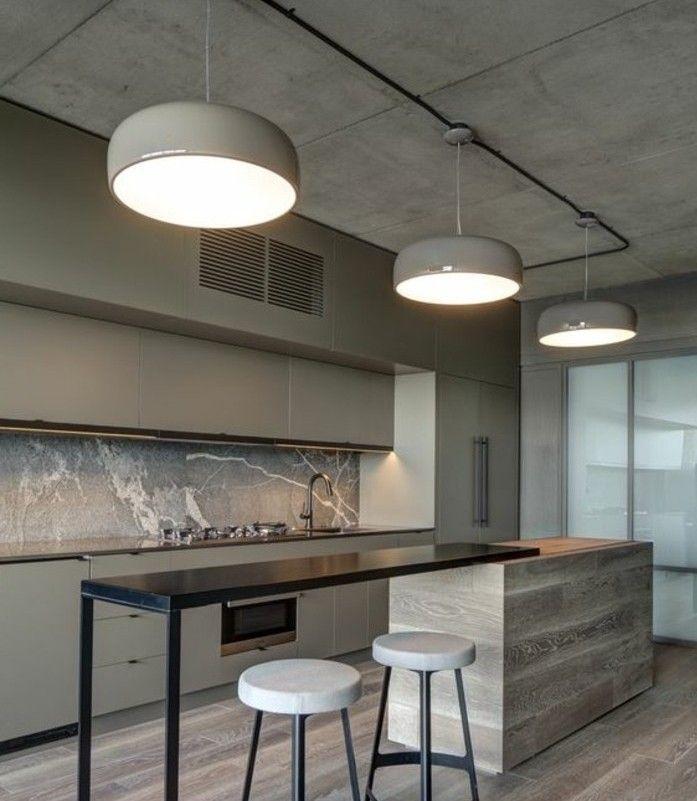 cuisine taupe ultra moderne, modèle de cuisine industrielle, meuble cuisine couleur gris taupe, îlot de cuisine design contemporain