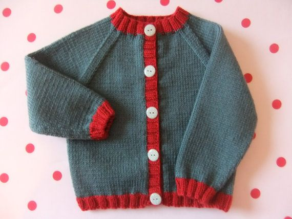 Hand knitted baby cardigan in dark teal and ruby red wool - Available to order from size 0-3 months