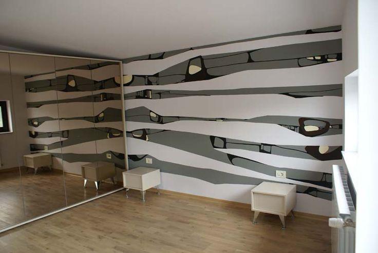 "Modern wall bedroom hand painted decor ""Grey Stripes"" Perete dormitor decorat cu pictura murala ""Grey Stripes"""