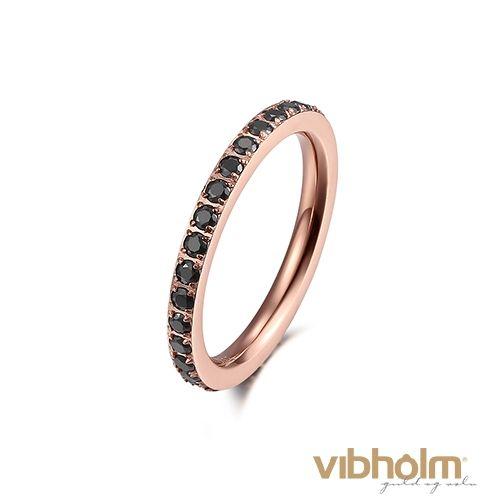 Kranz ring i rosaforgyldt rustfrit stål med sorte zirkonia 1406113