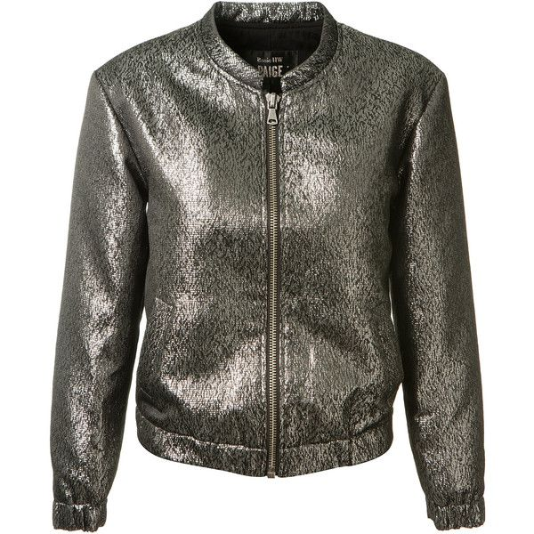 Rosie Hw X Paige Metallic Grey Bomber Jacket (30.445 RUB) ❤ liked on Polyvore featuring outerwear, jackets, zip jacket, zip bomber jacket, bomber style jacket, flight jacket and zipper jacket