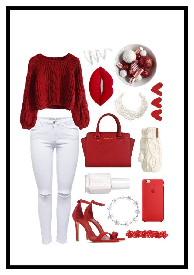 """""""All I want for Christmas is you"""" by mishcacao on Polyvore featuring Schutz, MICHAEL Michael Kors, Bling Jewelry, Lime Crime, Chicwish, Essie, Humble Chic and Cynthia Rowley"""