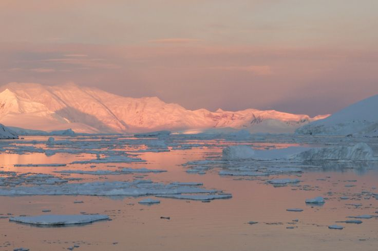 Who said that snow was white? The sunset in Lemaire channel, Antarctica gives the snow all kinds of colours...