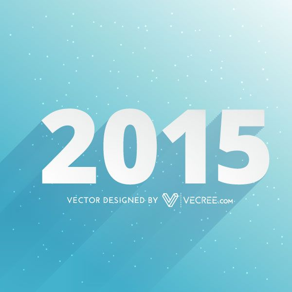 Happy New Year 2015 Vector Blue Background