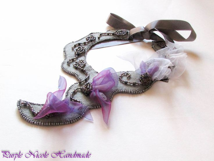 Yuletide - Handmade Statement Necklace made by Purple Nicole (Nicole Cea Mov) inspired by the works of H.P. Lovecraft. Materials: handmade purple and white organza flowers (also done by Purple Nicole), grey and silver 4 mm seed beads, felt, 2 mm seed beads, satin ribbon.