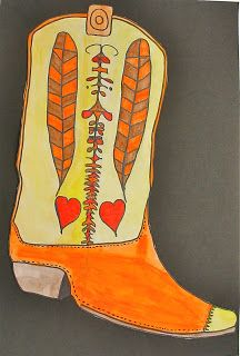 These boots were made for walking....Lower EL. Cowboy boots, cultural? Can work on different types of lines, symmetry, maybe section off with patterns.  Could maybe choose a background that is home to the United States, i.e.: New York Skyline, Golden Gate bridge, Forest, Rocky Mountains, South Western desert, Beaches, farmlands, etc.