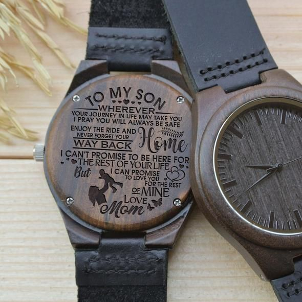 08b1d26297e ENGRAVED WOODEN WATCH - GREAT GIFT FOR YOUR SON! FROM MOM