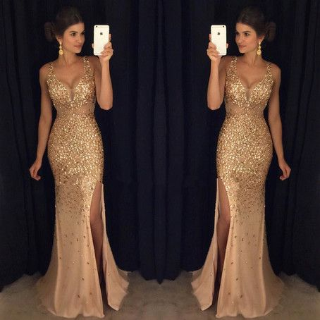 Rhinestone Beaded Mermaid Prom Dresses,Shinny Long Prom Dresses,Nude Prom Dresses,Mermaid Eevning Dresses,PD1889 · DidoPromCouture · Online Store Powered by Storenvy